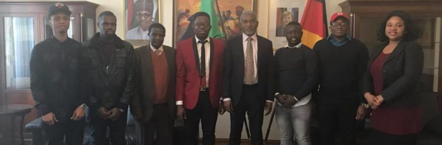NiSIG Team with Ambassador Yusuf Maitama Tuggar Head of Mission Nigeria Embassy Berlin, Germany